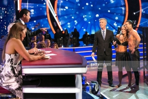 VanZant and Ballas receiving judges critiques after their performance in Week 3. (Photo Credit: Getty Images)