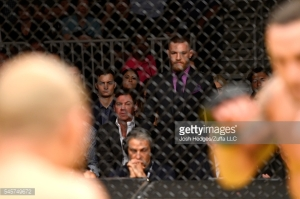Conor McGregor looks on during the UFC interim featherweight championship bout during the UFC 200 event on July 9, 2016 at T-Mobile Arena in Las Vegas, Nevada. (Photo Credit: Getty Images)